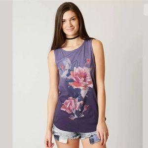 Lucky Brand Rose Bouquet Tank Top Purple Sz XL